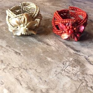 Set of 2 Handcrafted Beaded Cuff Bracelet